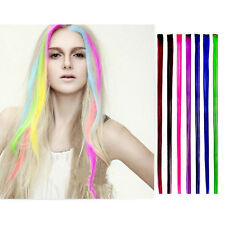 """New 15"""" Colored Colorful Clip On In Hair Extension Fake Custom pink AB"""