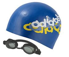 adidas  Logo Kids Girls Boys Swim Cap Blue Stretchy New One Size + FREE GOGGLES