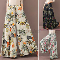 UK Women Draw String Waist Flare Wide Leg Pants Floral Culottes Palazzo Trousers