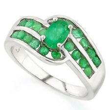 EMERALD SILVER RING 17 CWT EARTH MINED STONES HALLMARKED SILVER WHITE GOLD LOOK