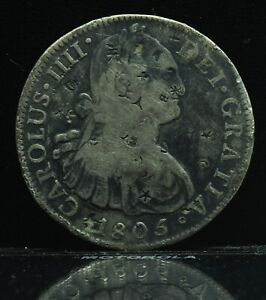 1805 Mo TH Mexico Carolus IIII 8 Reales Silver Coin w/ Chinese Chopmarks