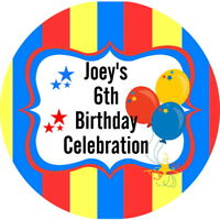 BIRTHDAY CELEBRATION BALLOON  PARTY PERSONALISED GLOSS SWEET BAG CONE STICKERS