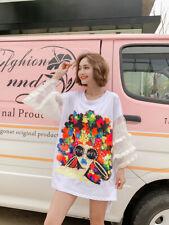 Fashion Women Summer New Cartoon Sequins printing Short sleeve T-shirt Dress