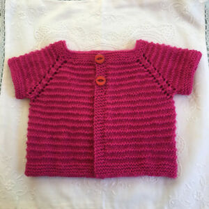 * 9 to 12 Months  * Baby Jacket * Deep Pink * Aust Hand Knitted *