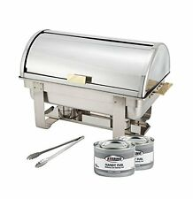 Winco Roll-Top Chafer, Gold Accent, Stainless Steel Chafing Dish Set