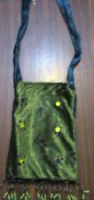 Velvet GREEN & TORQUOISE Beaded BO_HO shoulder style bag & inside pocket