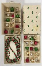 "Set 30 Mini Mercury Glass Christmas Tree Ornaments, 19"" Garland Doll House Size"