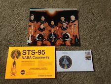 JOHN GLENN STS-95 CREW PHOTO CAUSEWAY PASS & STAMPED STATISTIC ENVELOPE Rare!