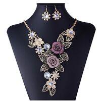 Retro Damen Kristall Perlen Blumen Halskette Statement Chunky Choker Modeschmuck