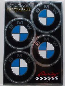 SERIE ADESIVI LOGO BMW DECALCO DIAMETRO 48 MM STICKERS 4 PEZZI