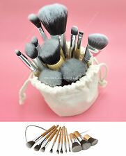 11 Piece Makeup Brush Set With Bamboo Handle & Soft Synthetic Hair