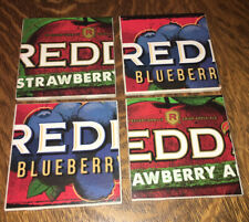 "Handmade Set Of 4 Ceramic Coasters ""Red's"" Straw/Blueberry Beer Theme 41/4x41/4"