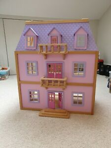 Wooden Dolls House with Miniature Accessories