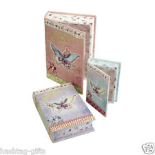 3 Vintage Boxes - Book Storage Jewellery Gift Box Wedding Keepsake Box Butterfly