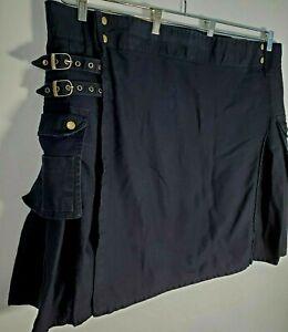 Modern Kilts Men Size 50 W Black Pleated Wrap Utility Cargo Pockets Button Snaps