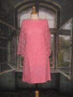 Vintage 1960s Dress Pink Scalloped Lace Bell Sleeve Carol Craig Off Shoulder Med