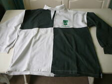 Polo de rugby vintage Pau-Leicester 26octobre 1996 XL collector vert et blanc