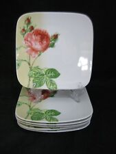 """Wawel China Peonies Flowers Square 7 1/4"""" Luncheon Salad Plate Set of 6"""