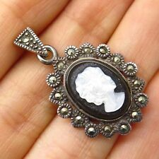 Vtg 925 Silver Marcasite Black Onyx Mother-Of-Pearl Cameo Victorian Lady Pendant