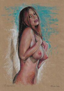 original drawing A4 826DO art samovar Pastel Realism female nude Signed 2021