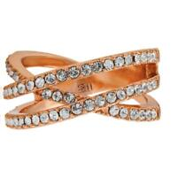 Pave Design Rose Gold Plated Double Crossed Ring with Matashi Crystals - Size 5