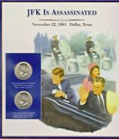 IRELAND USA  MNH Stamps. J.F.Kennedy is Assassinated. 2 UC Half $ Coins on Card.