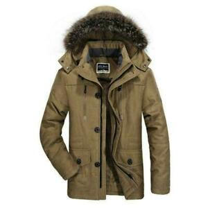 Winter Mens Cotton Coat Parka Overcoat Slim Fit Fur Lined Hooded Outdoor Jacket