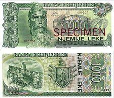 Albania Banknote Specimen Paper Money, 1000 leke 1992, UNC
