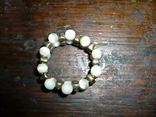 """VTG ROUND MOONSTONE & STEEL BEADS RING W REVERSE DESIGN EXPANDABLE FROM 1/2"""""""