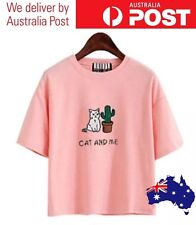 CAT & CACTUS T-SHIRT - CAT AND ME, PINK - TUMBLR CUTE KITTEN, PLANTS - FREE POST