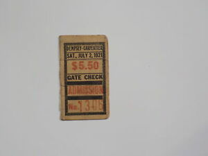JACK DEMPSEY vs GEORGES CARPENTIER Boxing Ticket 1921 First Million Dollar Gate