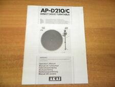 Akai AP - D210/C manual , manuale d'uso originale
