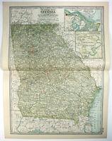 Original 1902 Map of Georgia by The Century Company. Antique