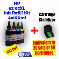 HP 62 62XL Refill Color Ink Cartridges 4x100ml ENVY 5640 7640 Officejet 5740