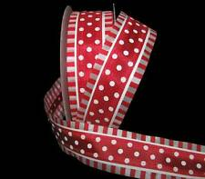 "5 Yards Carnival Red White Polka Dot Stripe Edge Wired Ribbon 1 1/2""W"