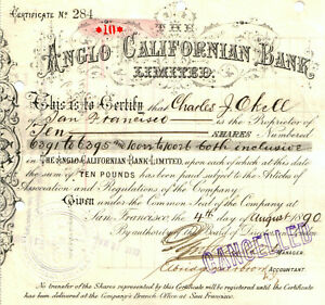 RARE 1ST ISSUE ANGLO-CALIFORNIA BANK STOCK (ca 1900) BECAME WELLS FARGO! CV $100