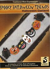 """Wool Applique Pattern by Crane Design """"Spooky Halloween"""" (Garland or Ornaments)"""