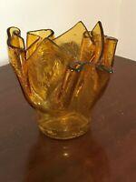 Vintage Blenko Amber Crackle Glass Pinch Pleated Rose Bowl Vase