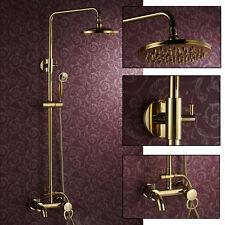 Gold Polished Brass Round Adjustable Shower Head Rain Shower Mixer Tap Bath Set