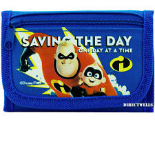 Disney Incredibles Authentic Licensed Canvas Trifold Blue Wallet for Children