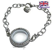 Best Quality Silver Crystal Living Memory Locket Bracelet For Floating Charms