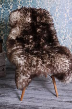 Large Beautiful Spiced Sheepskin rug, soft wool, black, 110x70cm
