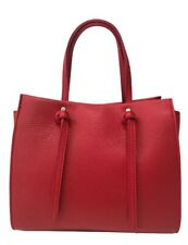 Italian Real Genuine Leather  Shoulder Bag Handbag Vera Pelle - red
