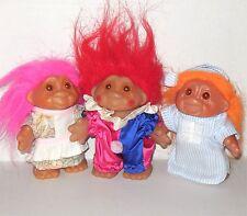 Vtg Dam 1986 vintage 3 troll lot orange red pink hair nightgown clown housewife