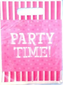 """Pink Party Loot Bags / Lolly Bags 10pk Polka Dots & Stripe """"Party Time"""""""