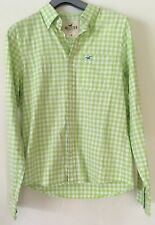 Hollister Mens Long Sleeved Lime Green White Checked Shirt Size Medium