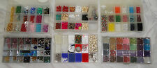 Lot of 6 Organizer Boxes w an Assortment of Beads & Seed Beads, Various Colors A