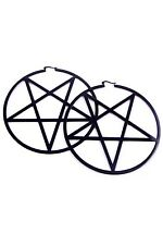 Killstar Black Pentagram Hoop Earrings Plated Stainless Steel NEW Goth Punk Occu