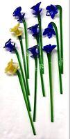 Lot of 10 Murano Blown Glass Long Stem Flowers Blue Yellow Daffodil Vintage EUC