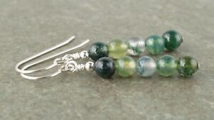 Green Moss Agate - Real Natural Gemstone Sterling Silver Drop Earrings Gift Box